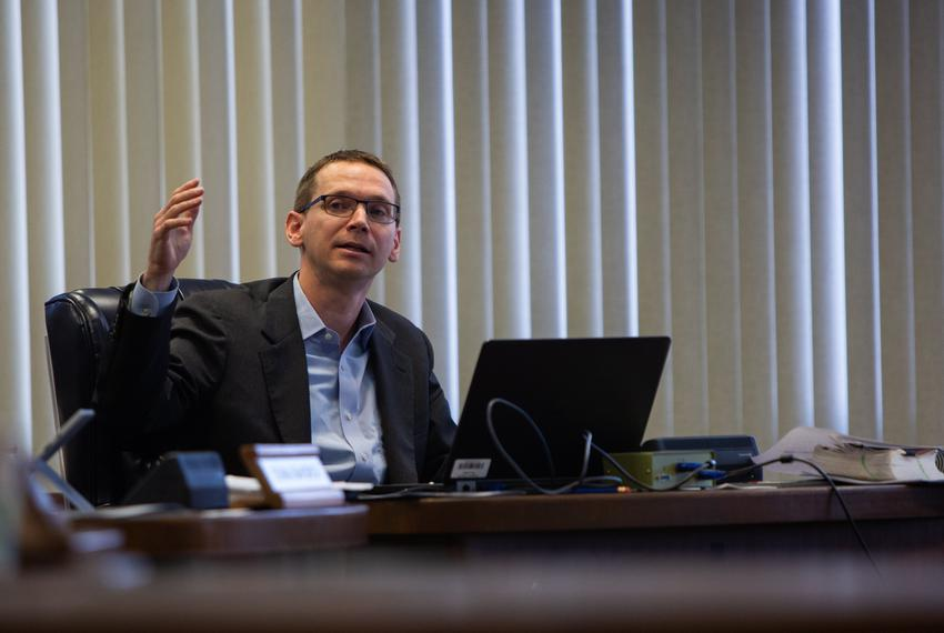 Texas Education Agency Commissioner Mike Morath speaks to the State Board of Education members during a meeting in Austin on…
