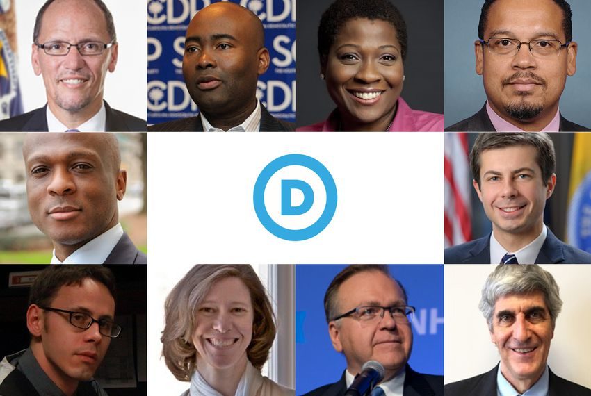 Some candidates vying to lead the Democratic National Committee appeared at the Regional DNC Future Forum in Houston on January 28, 2017. Clockwise from top right: Tom Perez, Jaime Harrison, Jehmu Greene, Keith Ellison, Pete Buttigieg, Peter Peckarsky, Ray Buckley, Sally Boynton Brown and Vincent Tolliver.