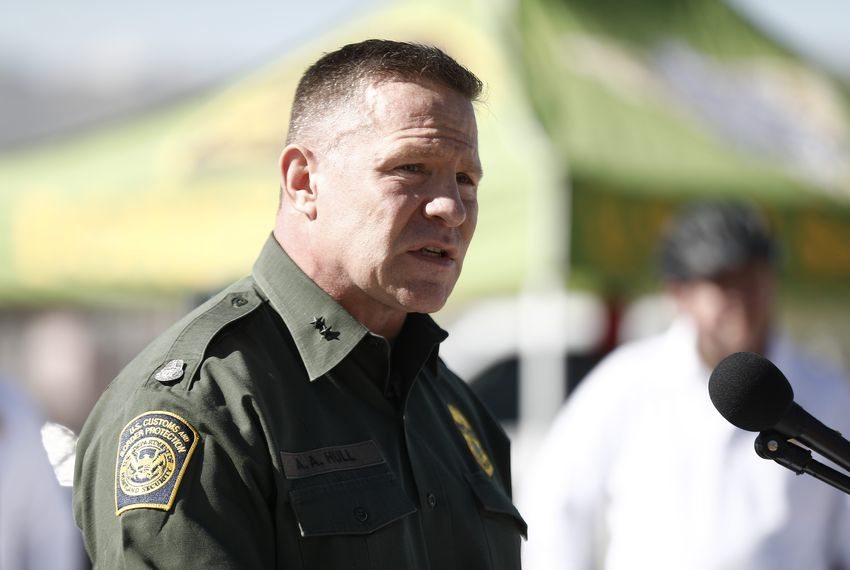 U.S. Border Patrol Chief Patrol Agent Aaron Hull from the El Paso Sector speaks at a press conference about a segment of the border wall being built near downtown El Paso, on Sept. 21, 2018.
