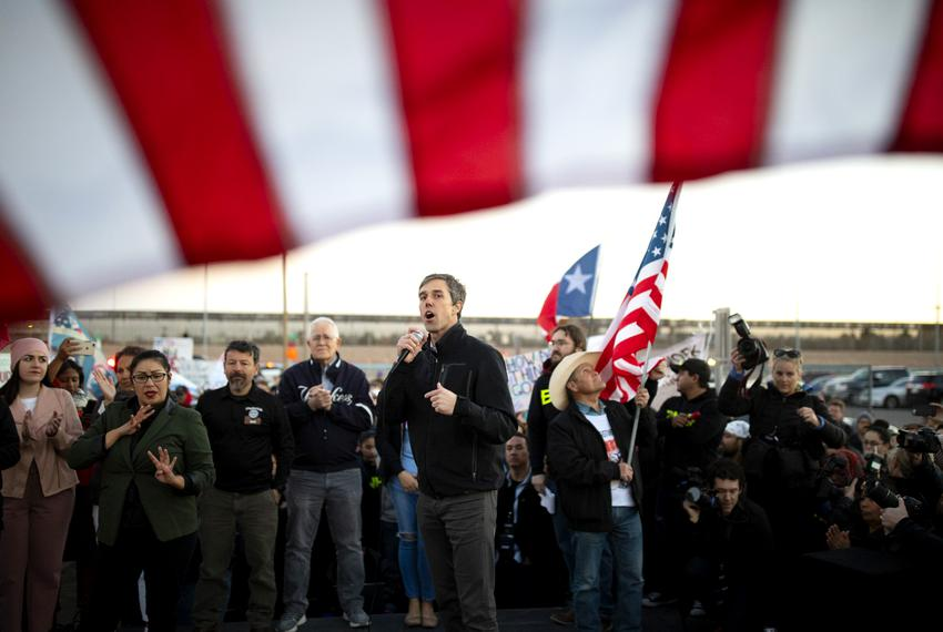Beto O'Rourke leads a counterprotest with thousands of other El Pasoans at the same time President Donald Trump holds a camp…