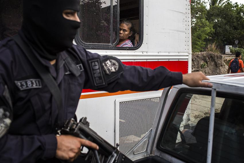 A Policia Nacional Civil patrol in the La Campanera neighborhood of Soyapango, just outside of San Salvador, El Salvador. Th…
