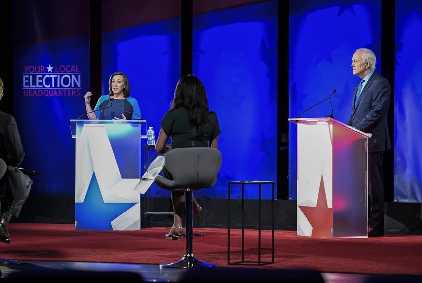 Austin, TX October 9, 2020:  Republican U.S. Sen. John Cornyn of Texas and Democratic challenger MJ Hegar of Round Rock face…