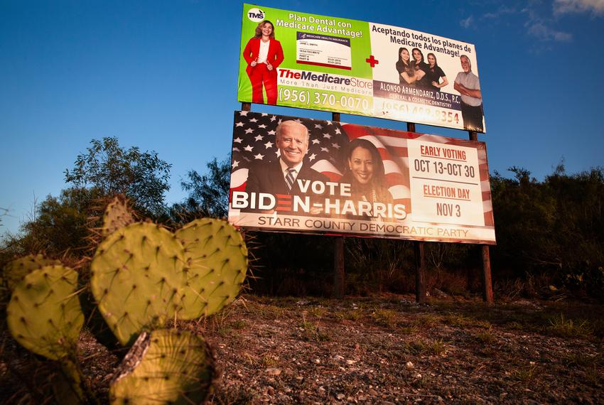 Billboards in front of the old Blas Chapa house. Rio Grande City on Nov. 11, 2020