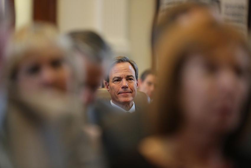 Texas House Speaker Joe Straus listened to a Jan. 13, 2015, speech by a fellow member nominating him for another term as spe…