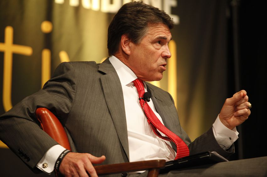 The second annual Texas Tribune Festival kicked off with with a conversation between Texas governor Rick Perry and Tribune founder and CEO Evan Smith in the Grand Ballroom of the AT&T Conference Center in Austin, Texas on September 21, 2012.