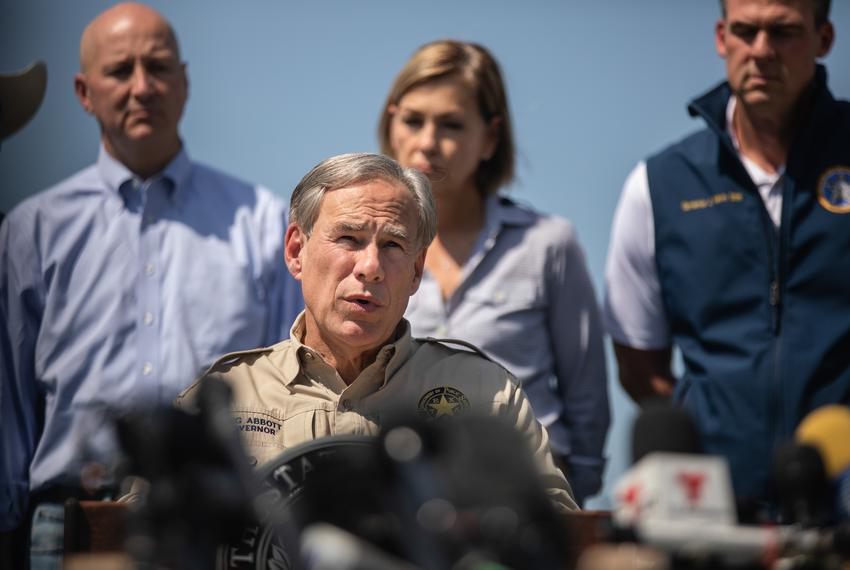 Gov. Greg Abbott speaks at a press conference with nine other governors regarding the southern border at Anzalduas Park in M…