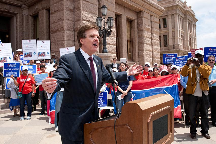 State Sen. Dan Patrick, R-Houston, spoke Wednesday as Texas charter school supporters rallied at the Texas Capitol to lobb...