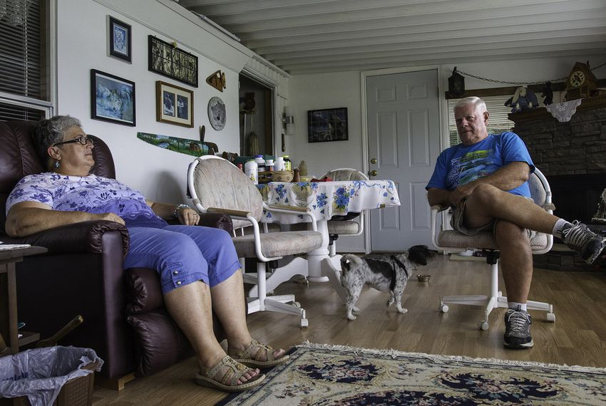Ron and Janella Frankl Reicks in their home in Hidalgo Texas, discuss the newest National Guard deployment to the Rio Grande.
