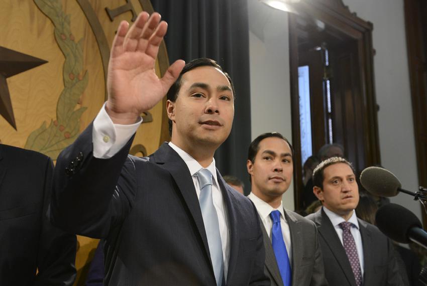 U.S. Rep. Joaquin Castro, D-San Antonio; San Antonio Mayor Julián Castro; and state Rep. Trey Martinez Fischer, D-San Antoni…