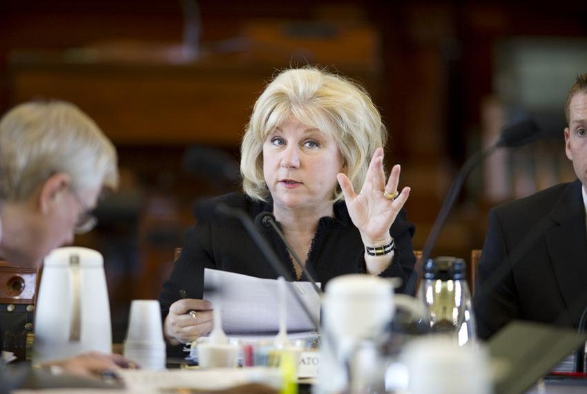 Chairman of Health & Human Services, Sen Jane Nelson, R-Flower Mound, at a committee meeting on May 3, 2011.