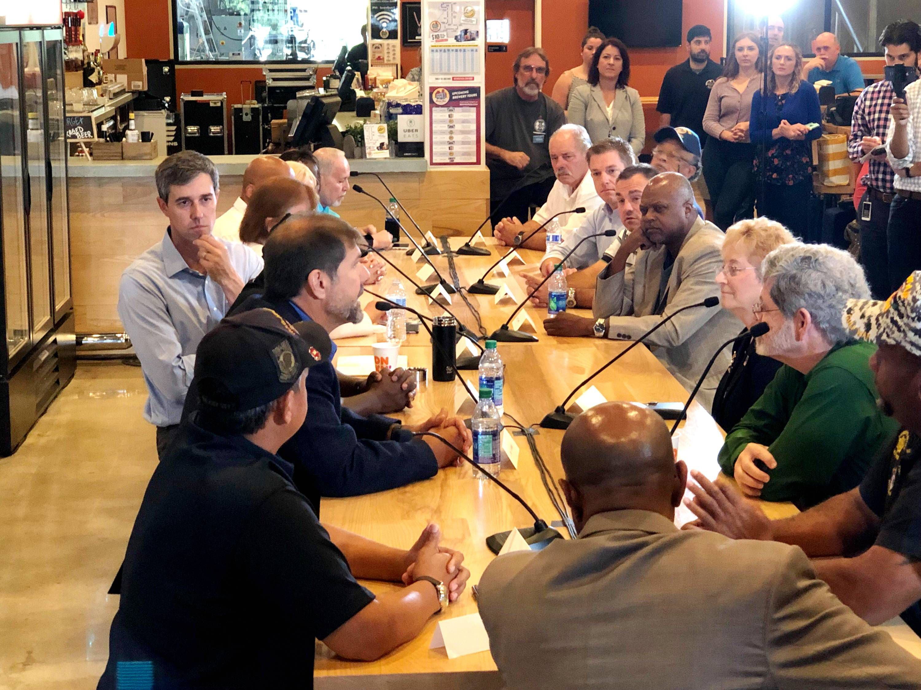 Democratic presidential candidate Beto O'Rourke holds a veterans roundtable in Tampa, Florida, on June 24, 2019.