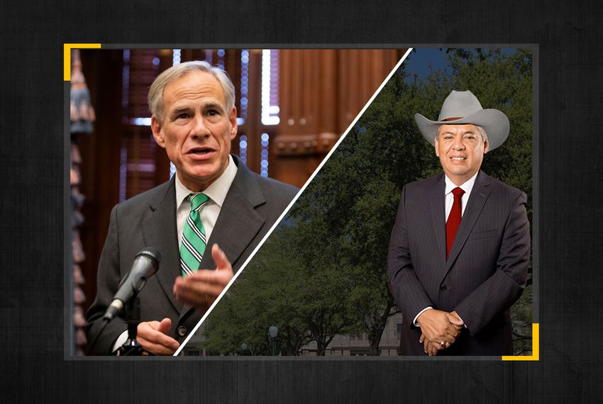 Gov. Greg Abbott (left) and Fred Rangel, Republican candidate for Texas House District 125