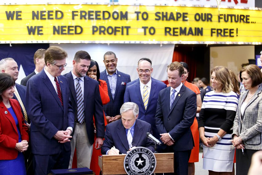 Gov. Greg Abbott signs Senate Bill 7, aimed at bolstering the state's emergency preparedness and disaster relief programs.