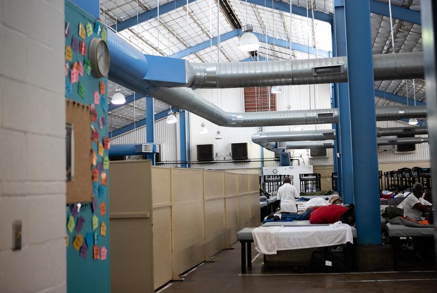 Inside Austin Street Center, an emergency homeless shelter serving Dallas, on June 25, 2019. The men's section is on the rig…