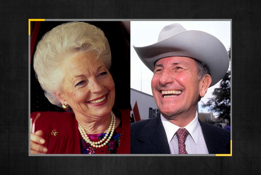 Ann Richards, left, on the campaign trail in 1988 and Clayton Williams during the campaign in 1990.