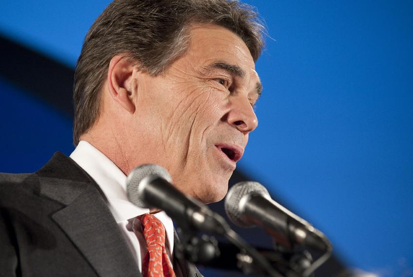 Gov. Rick Perry announcing on Jan. 3, 2012, that he will return to Texas to reassess his campaign after a fifth-place finish…