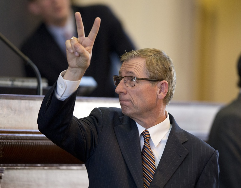 State Rep. Byron Cook, R-Corsicana, registers a no vote on an amendment to his ethics bill SB19 on May 26, 2015.
