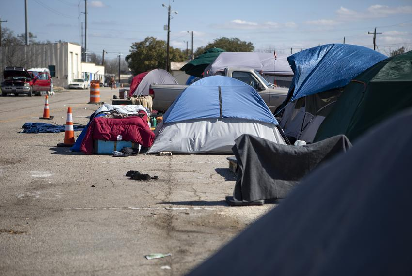 Tents at the state-run homeless encampment off of U.S. Highway 183 in Austin on Feb. 25, 2020.