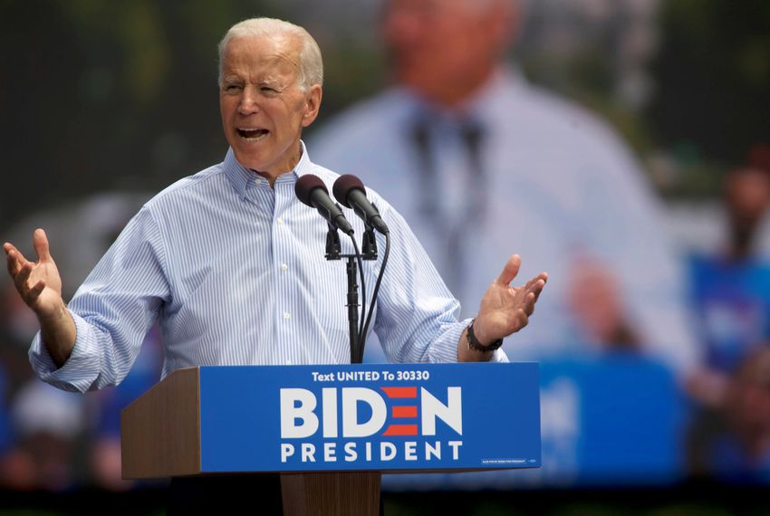 Democratic presidential candidate and former Vice President Joe Biden speaks during a campaign stop in Philadelphia on May 18.