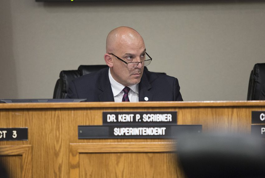 Fort Worth ISD Superintendent Kent Scribner listens to speakers at a school board meeting on Tuesday, May 10, 2016.