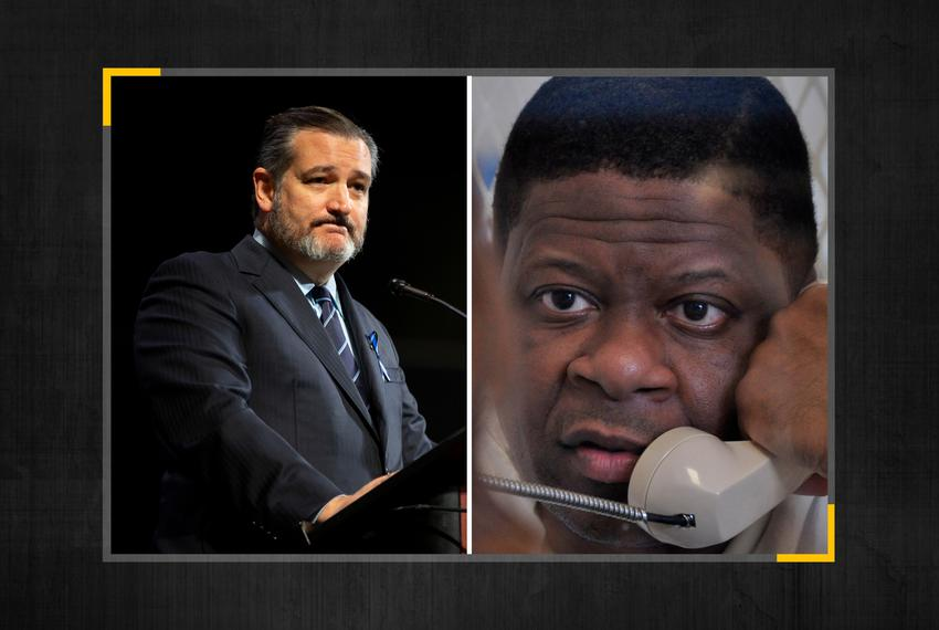 From left, U.S. Senator Ted Cruz, R-Texas, and Rodney Reed.