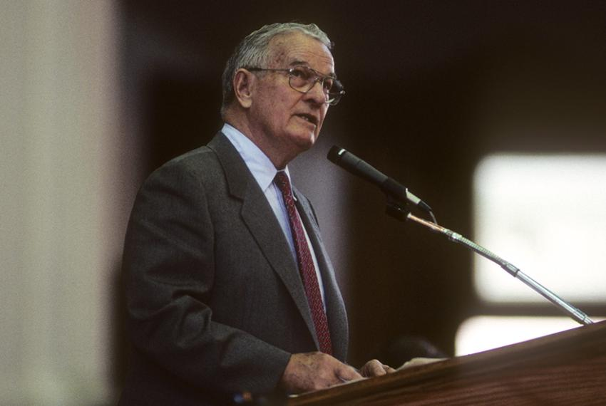 Former Texas Gov. Bill Clements is shown during a speech at the Texas Capitol in 1987. He served as governor from 1979 to 19…