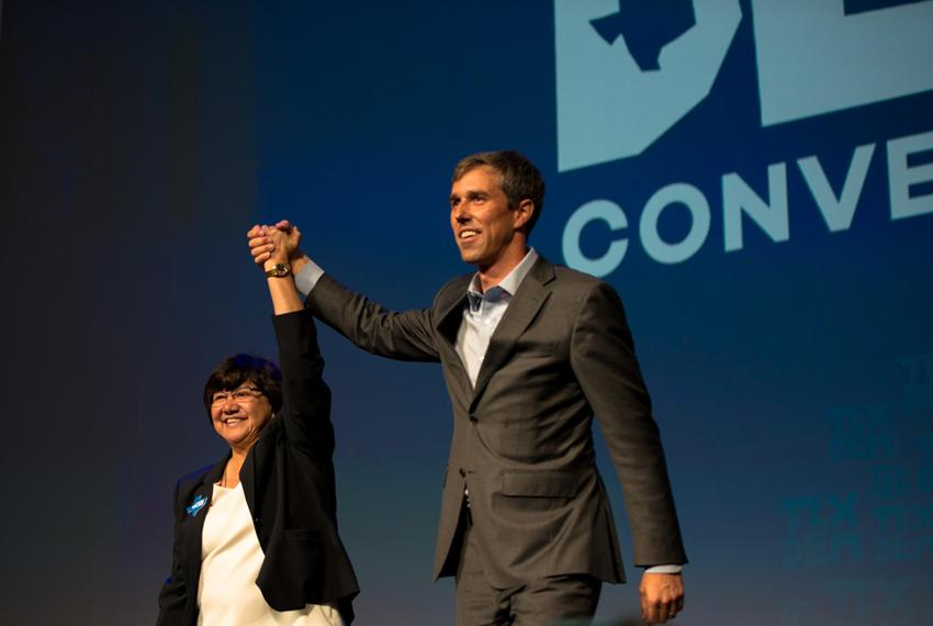 Lupe Valdez, Democratic candidate for governor, and U.S. Rep. Beto O'Rourke, D-El Paso, vying for the U.S. Senate, at the Te…