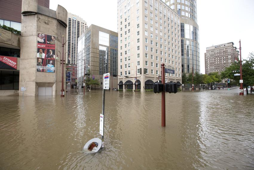 The Theater District in downtown Houston is flooded by water from Buffalo Bayou after it jumped its banks on Sunday, Aug. 22…
