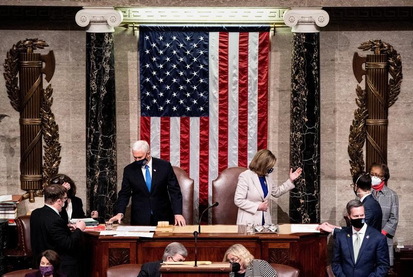 Vice President Mike Pence and House Speaker Nancy Pelosi preside over a joint session of Congress to certify the 2020 Electo…