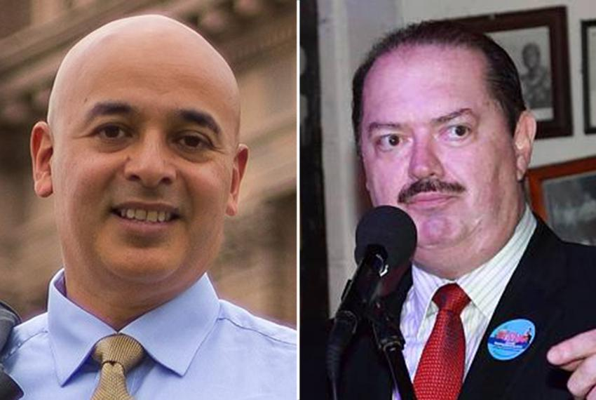 Alex Dominguez, left, and state Rep. René Oliveira.