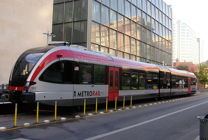 Capital Metro's current MetroRail line runs between downtown Austin and the northern suburb of Leander. A proposed 2014 bond measure could go toward expanding light rail in Austin if voters give the plan the green light.