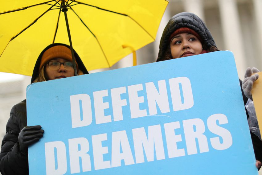 Protesters gathered outside the U.S. Supreme Court on Tuesday as justices prepared to hear oral arguments regarding the Trump administration's bid to end the Deferred Action for Childhood Arrivals program.