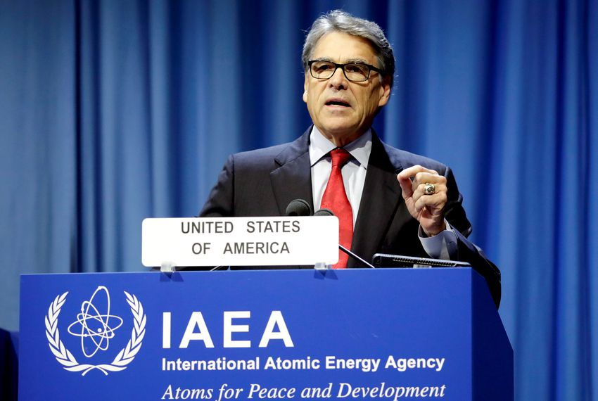 Energy Secretary Rick Perry attends the opening of the International Atomic Energy Agency (IAEA) General Conference at its headquarters in Vienna, Austria on Sept. 16, 2019.