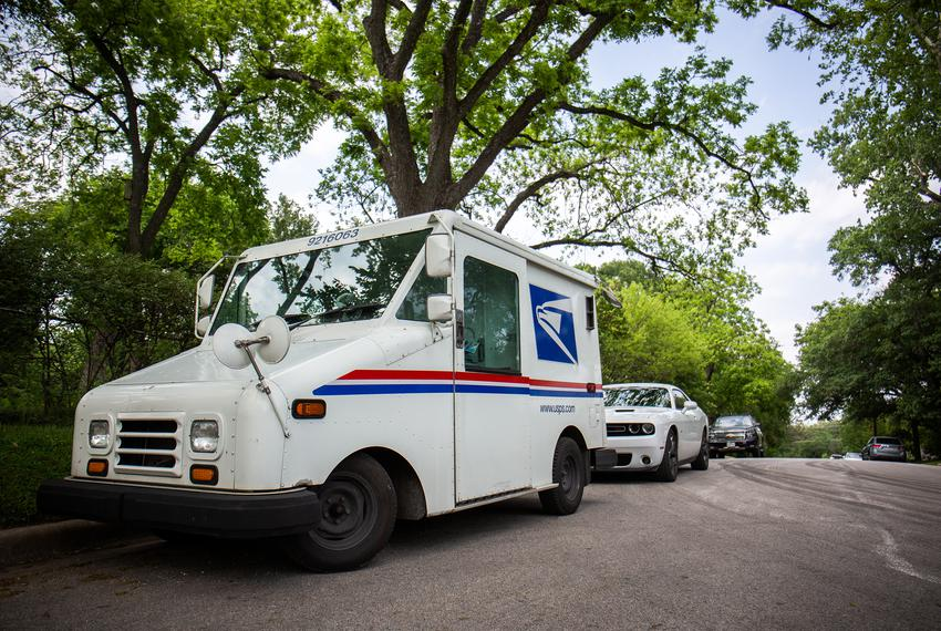 A USPS delivery truck in Austin on April 21, 2020.