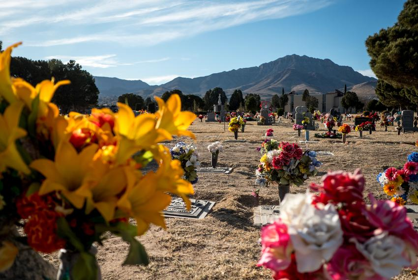 The Restlawn Memorial Park cemetery in El Paso on Dec. 5, 2020.