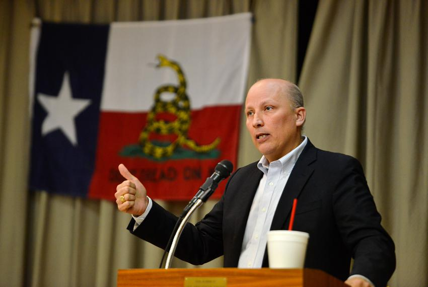 Texas Congressional District 21 Republican Candidate Chip Roy speaks during a candidate forum sponsored by the Hill Countr...