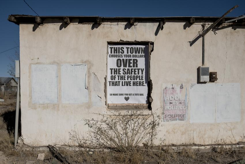 Signs against tourism to Marfa during the COVID-19 pandemic were posted in some parts of the city. Nov. 30, 2020.