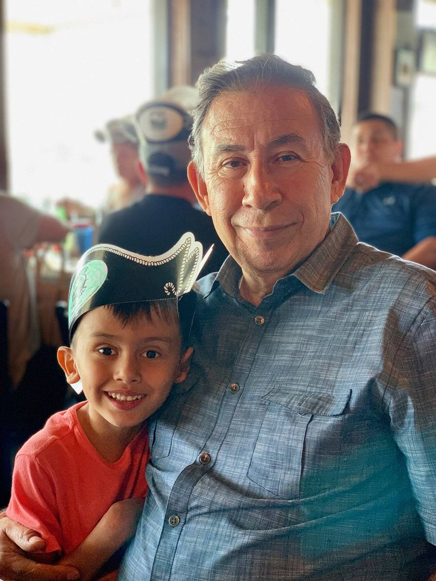 "Alvarado with his great grandson Jacah ""Jake"" Vair in 2019."