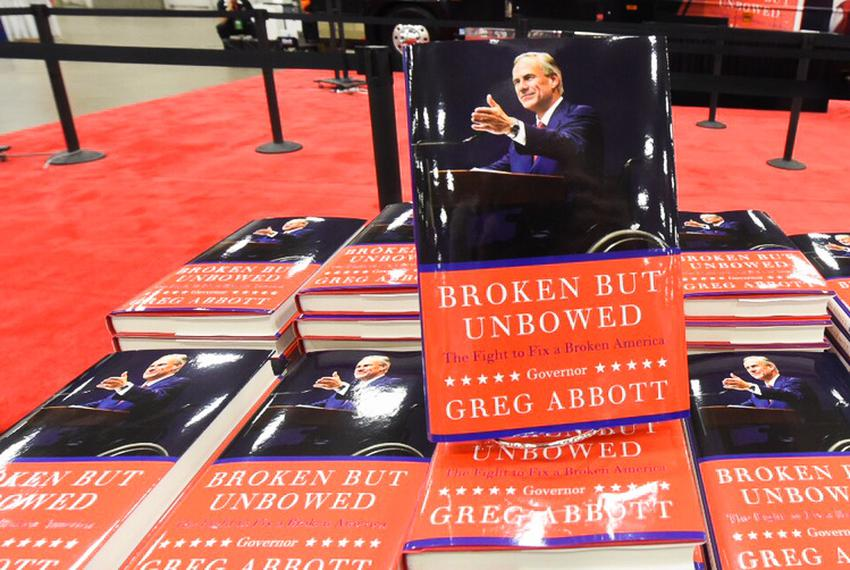 "Texas Gov. Greg Abbott's book, ""Broken But Unbowed,"" was available for purchase for the first time at the Texas GOP conventi…"
