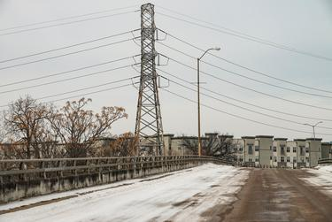 A variety of power lines in Dallas near Greenville Avenue during a winter storm on Feb. 16, 2021. Thousands of Dallas residents have been without power for multiple days.