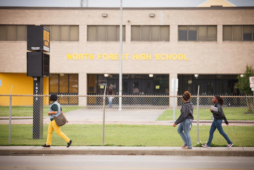 Students outside North Forest High School in Houston.