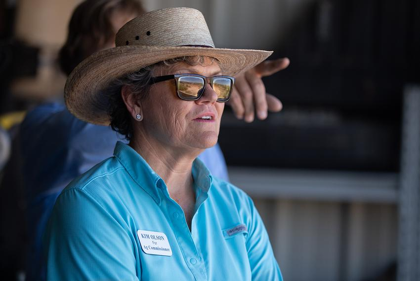 Kim Olson, the Democrat running for agriculture commissioner, tours a farm in Midland in July.