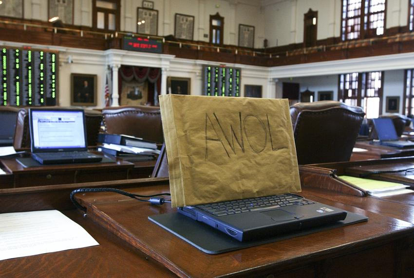 A covered Dell laptop during the Texas House Democratic walkout from May 12-13, 2003, at the 78th session of the Texas Legis…