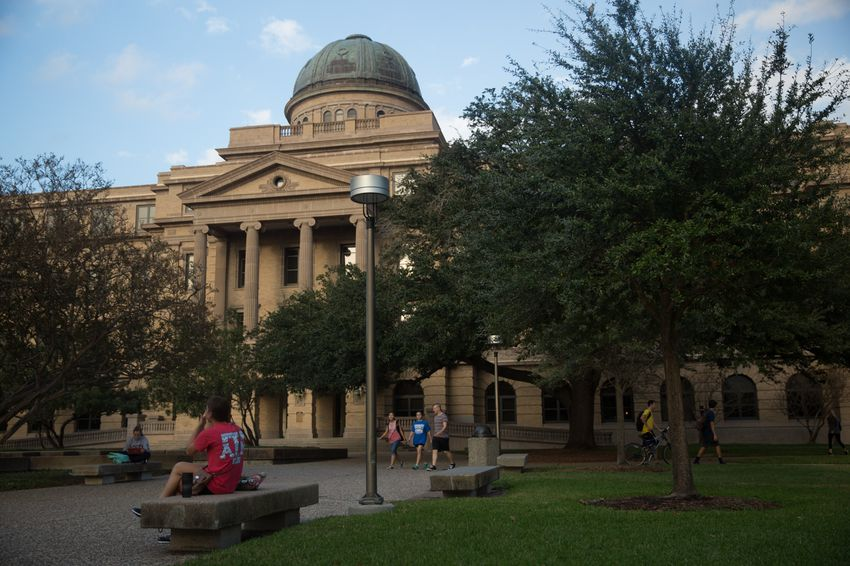 Students on the Texas A&M University campus in College Station.