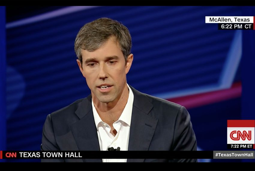 U.S. Rep. Beto O'Rourke, D-El Paso, the Democratic nominee for U.S. Senate, speaks at a televised town hall meeting in McAllen on Oct. 18, 2018.
