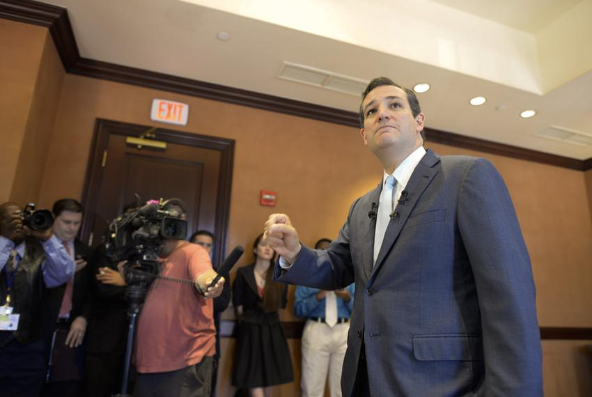 U.S. Sen Ted Cruz speaks to the Capitol press Friday May 16, 2014 prior to a commencement speech at UT.