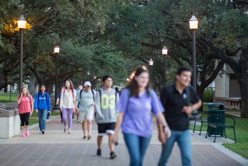 Students on Texas A&M University's campus on Nov. 11, 2015.