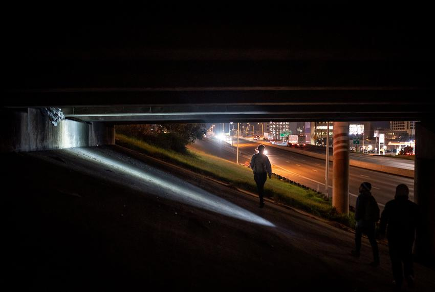 Point In Time volunteers searched for homeless Austin residents under the Interstate 35 and 11th Street overpass on Jan. 25,…