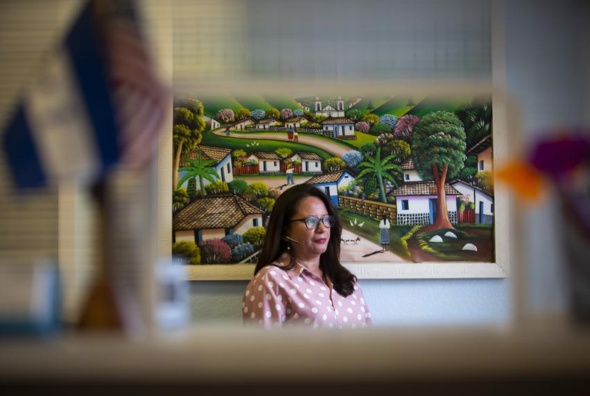 Business owner Irma Corado in her office in Houston on June 1, 2020. Corado owns Oasis Express, a courier service that deliv…