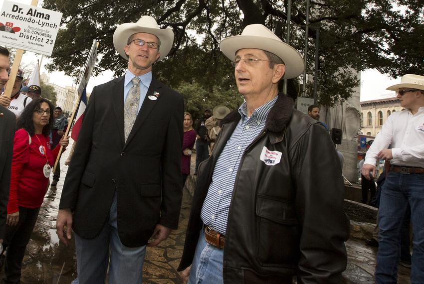 Davey Edwards (left) and Jerry Patterson, Republican candidates for Texas land commissioner, at a rally at the Alamo on Frid…